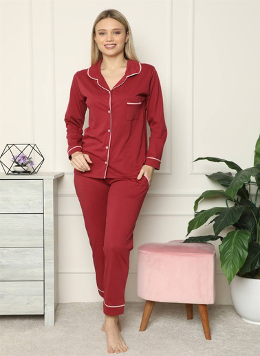 Akbeniz Kadın %100 Pamuk Penye Önden Düğmeli Uzun Kol Pijama Takım 2716 Bordo